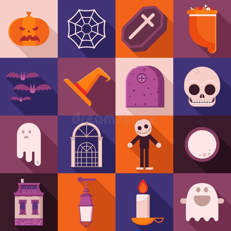 Значки тени хеллоуина длинные иллюстрация штока
