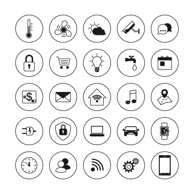 Значки технологии Умные установленные значки дома Интернет концепции вещей Умная домашняя система элемента также вектор иллюстрац иллюстрация вектора