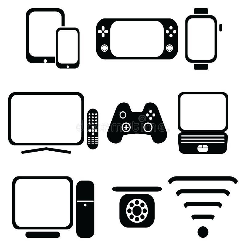 Значки технологии установили с таблеткой, мобильным телефоном, умным вахтой, консолью игры, умным ТВ, кнюппелем игроков для консо бесплатная иллюстрация