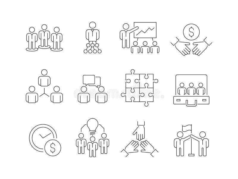 Значки тимбилдинга Рабочая группа бизнесменов помогает совместно coworking линия символы вектора участия тонкая иллюстрация вектора