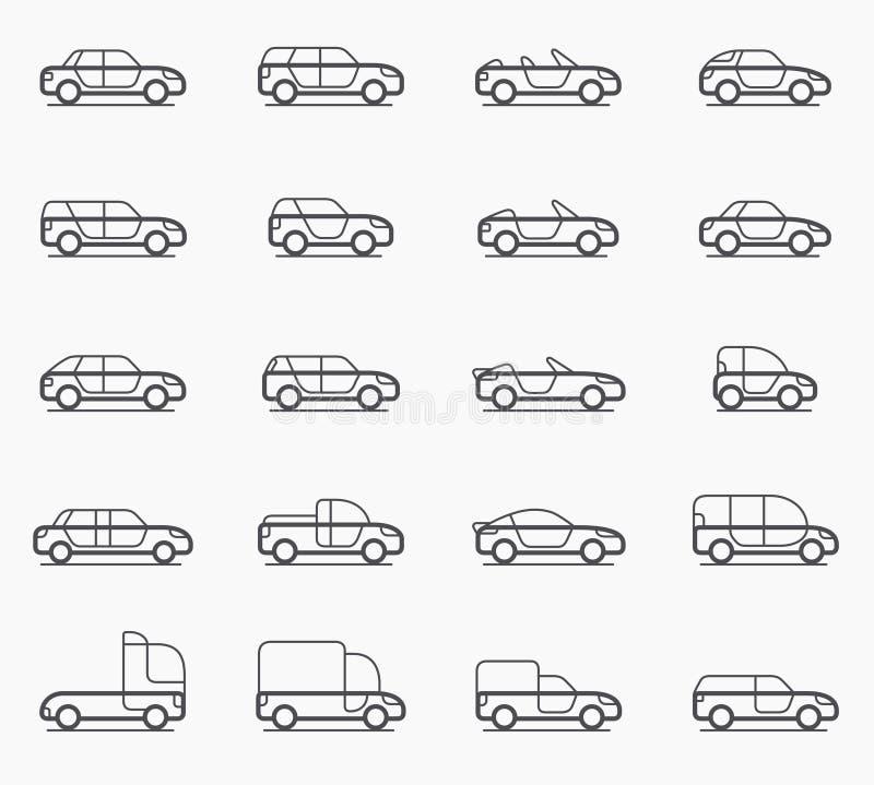 Значки типов телосложения автомобиля иллюстрация вектора