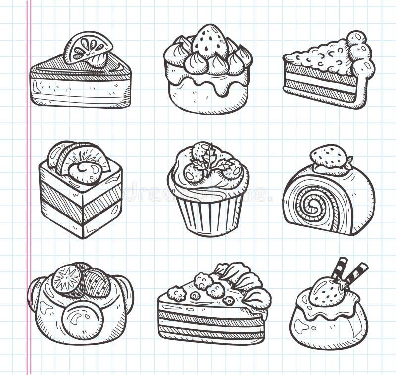 Значки торта Doodle бесплатная иллюстрация