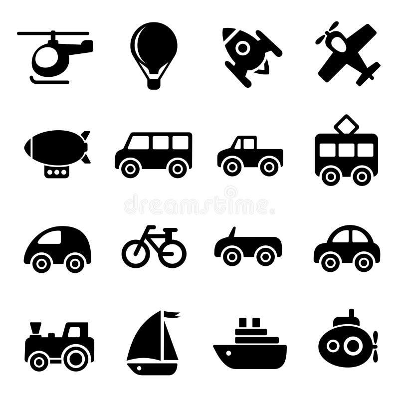Значки транспорта иллюстрация штока