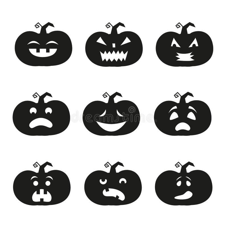 Значки тыквы хеллоуина иллюстрация вектора