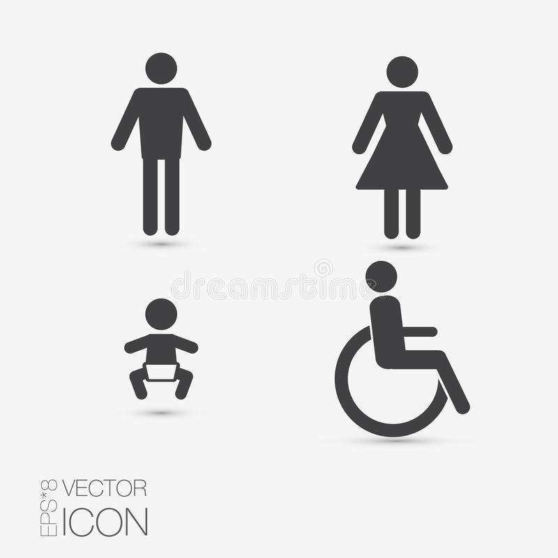 Значки уборного вектора: дама, человек, ребенок и инвалидность иллюстрация вектора