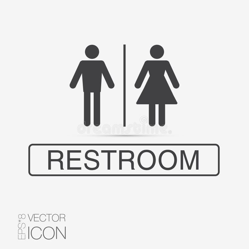 Значки уборного вектора: дама, человек иллюстрация вектора