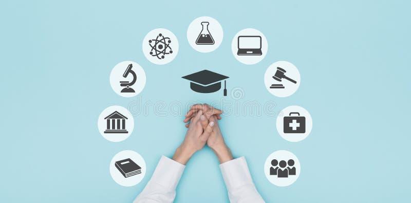 Значки университета и образования стоковое фото