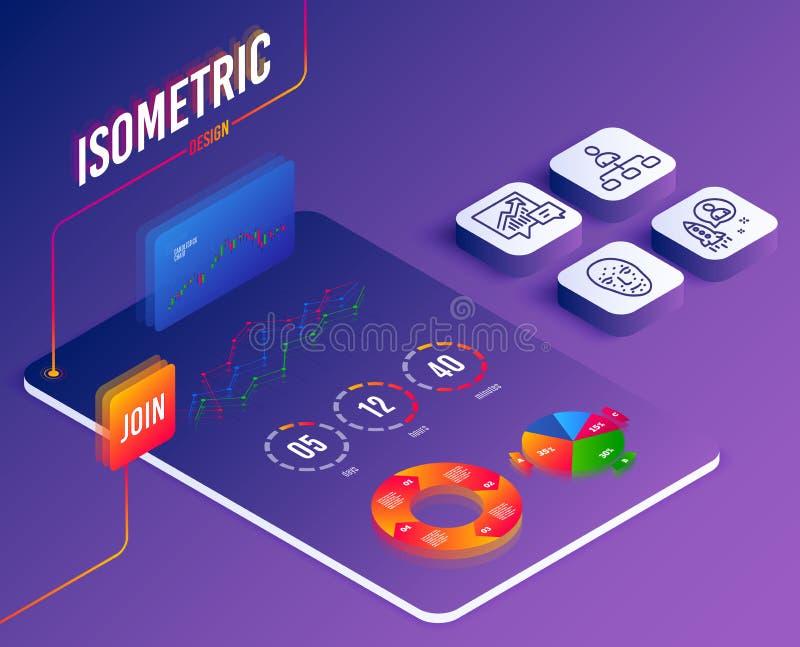 Значки управления, бухгалтерии и запуска Знак биометрии стороны Агент, предложение и спрос, разработчик вектор иллюстрация вектора