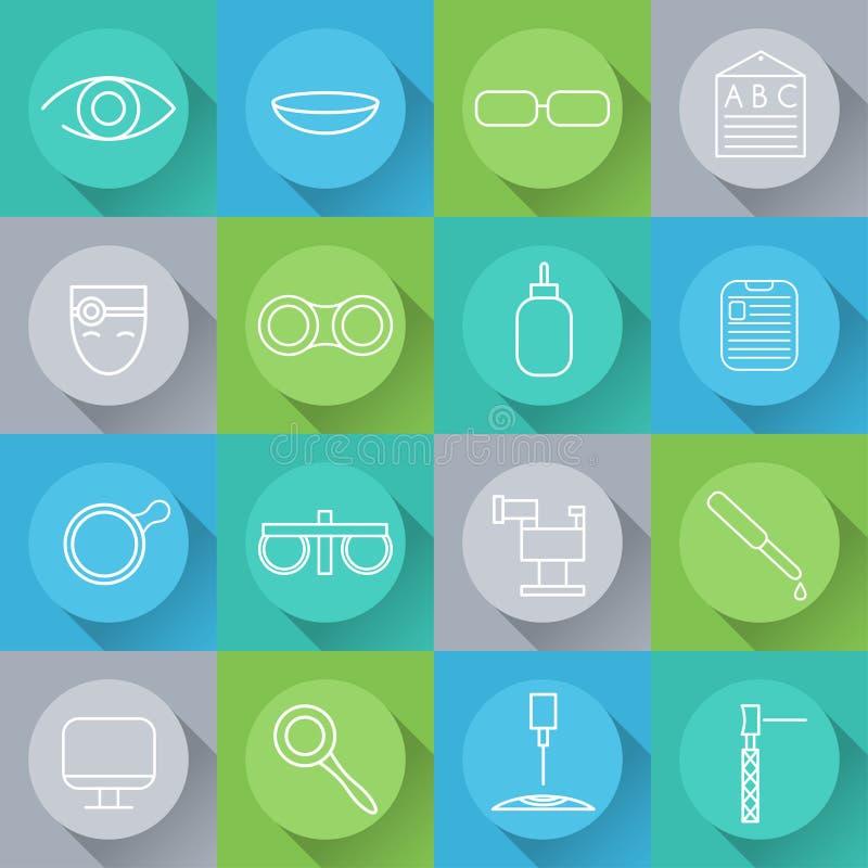 значки установили офтальмологии и optometry в плоском desi бесплатная иллюстрация