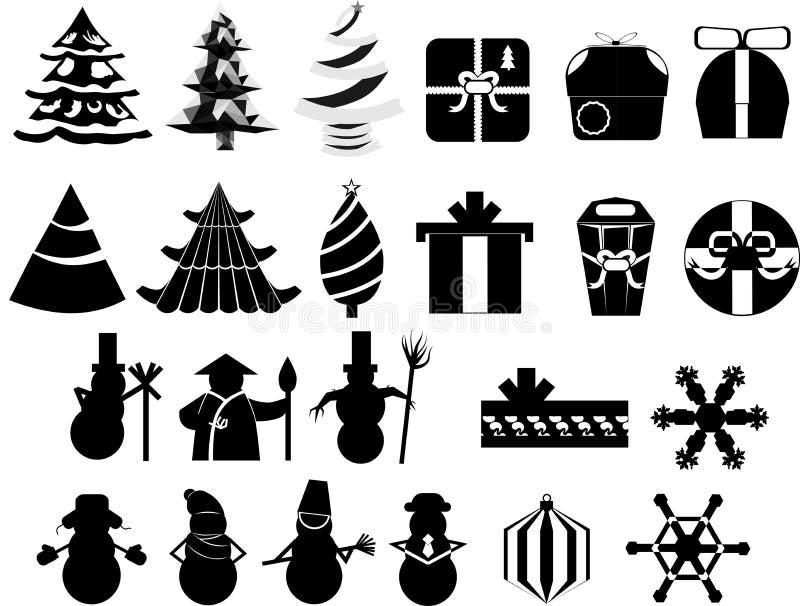 Значки установили праздники рождества Нового Года стоковые фотографии rf