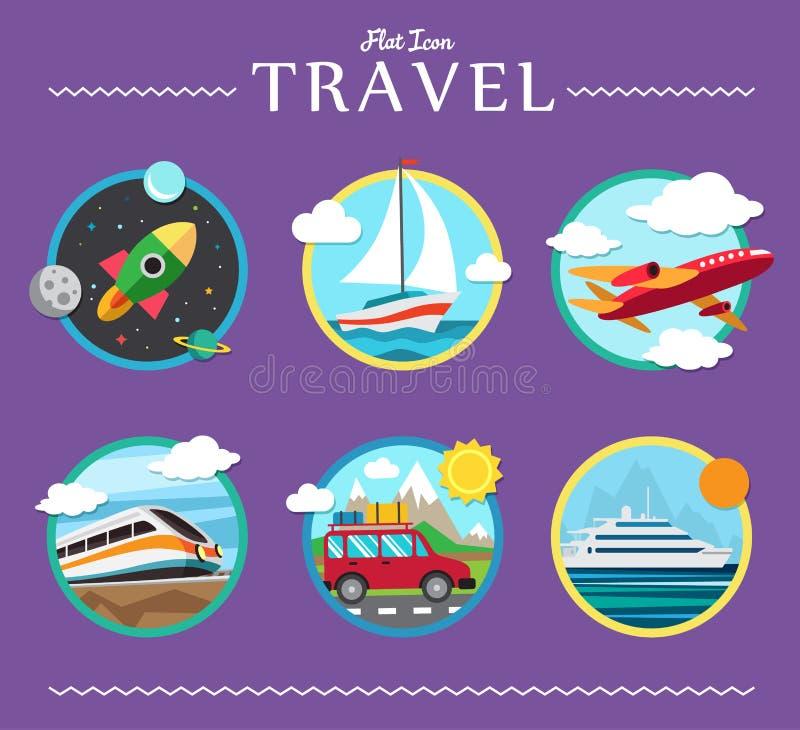 Значки установили путешествовать, планирующ летние каникулы иллюстрация вектора