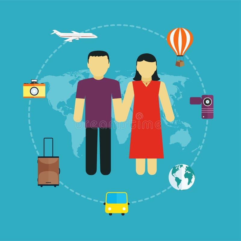 Значки установили путешествовать, туризма и путешествия планируя летние каникулы иллюстрация штока