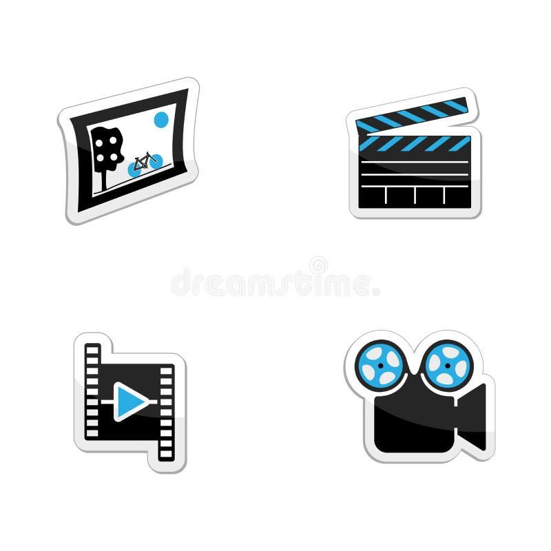 Значки установили фото, видео и темы кино иллюстрация вектора
