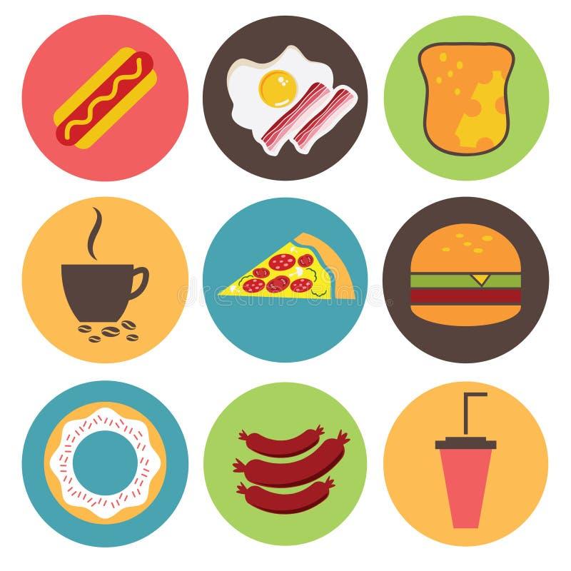 Значки установили для меню, кафа и ресторана Плоский дизайн v бесплатная иллюстрация