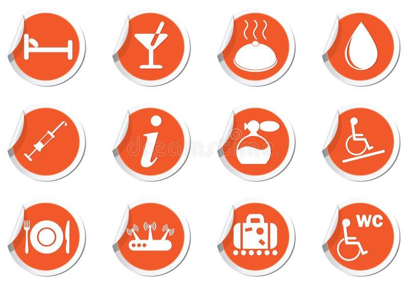 Значки установленные на оранжевые ярлыки иллюстрация вектора