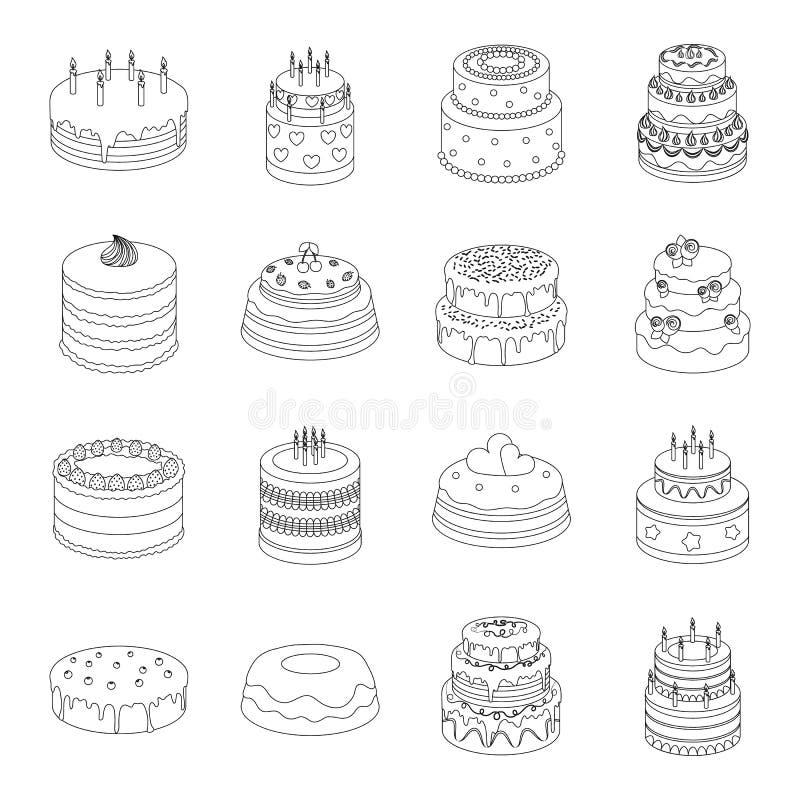 Значки установленные тортами в стиле плана Большое собрание тортов vector иллюстрация запаса символа иллюстрация вектора