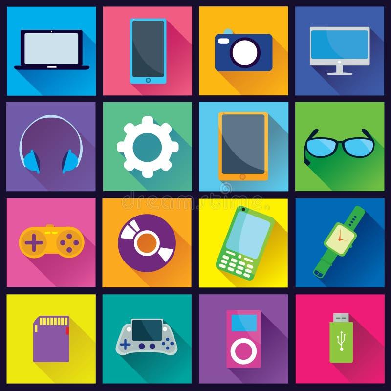 Значки устройства плоские бесплатная иллюстрация