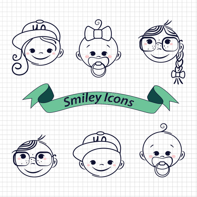 Значки улыбки иллюстрация вектора
