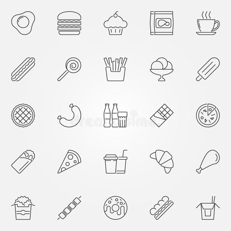Значки фаст-фуда устанавливают - vector линия символы концепции высококалорийной вредной пищи бесплатная иллюстрация