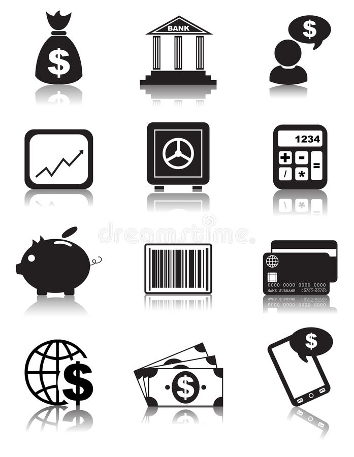 Значки финансов иллюстрация вектора