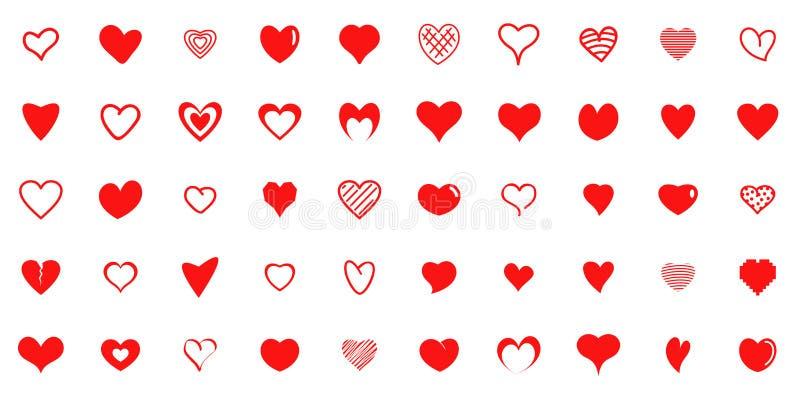 Значки форм сердца дизайна красные установили, простой стиль иллюстрация штока