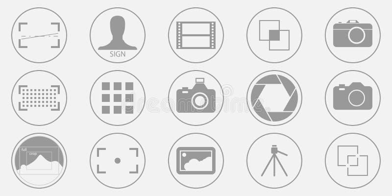 Значки фотографии установили - иллюстрации цифровой фотокамеры - фото & знак и символы изображения Вектор EPS 10 иллюстрация вектора