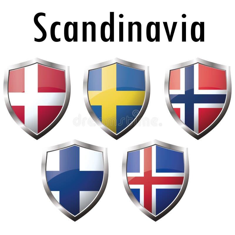 Значки флагов нордических стран на белой предпосылке иллюстрация вектора