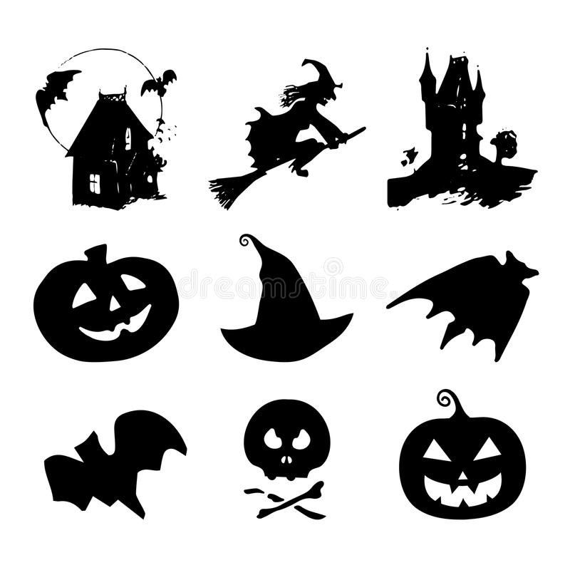 Значки хеллоуина, знаки Иллюстрации вектора ночи 31-ое октября Все собрание элементов дня Святых иллюстрация штока
