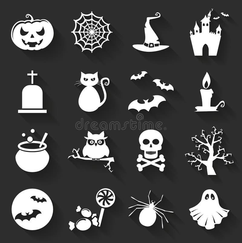 Значки хеллоуина плоские вектор комплекта сердец шаржа приполюсный бесплатная иллюстрация