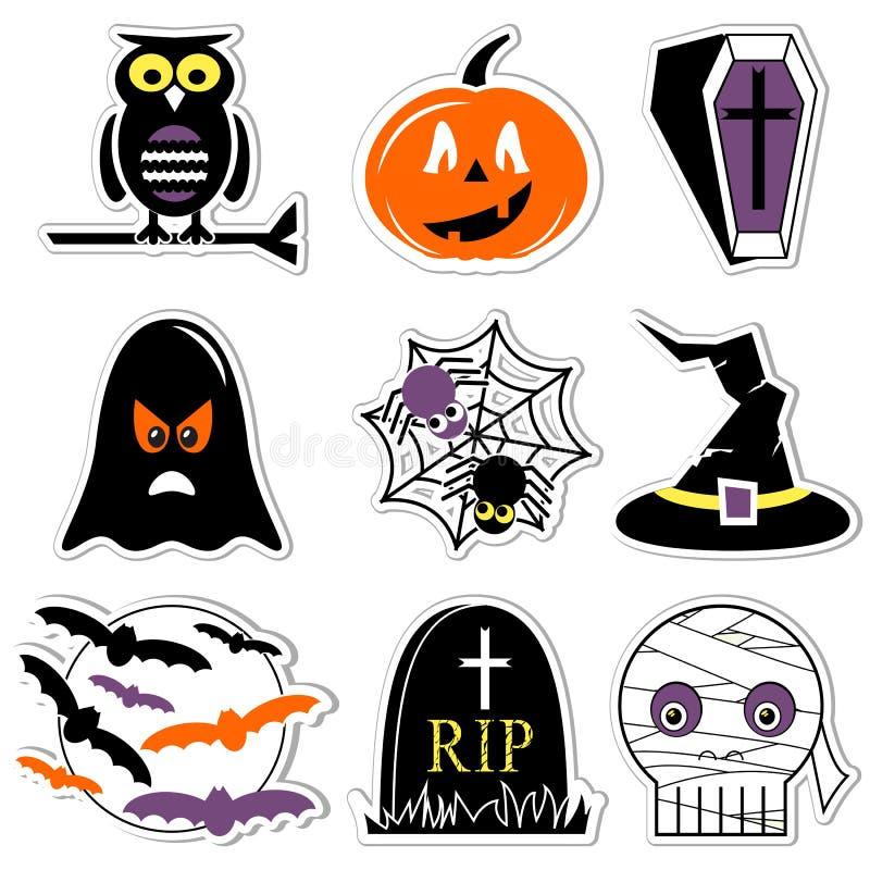 Значки хеллоуина установили в цвет, стиль ярлыков включая сыча, тыкву, гроб с крестом, призраком, пауком на сети паука, острослов иллюстрация штока