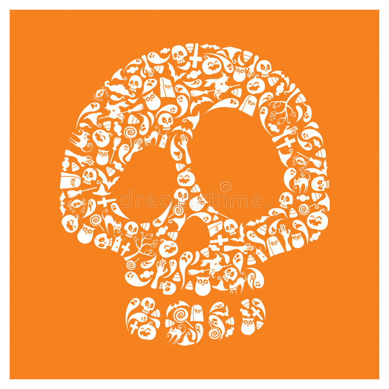Значки хеллоуина - череп бесплатная иллюстрация