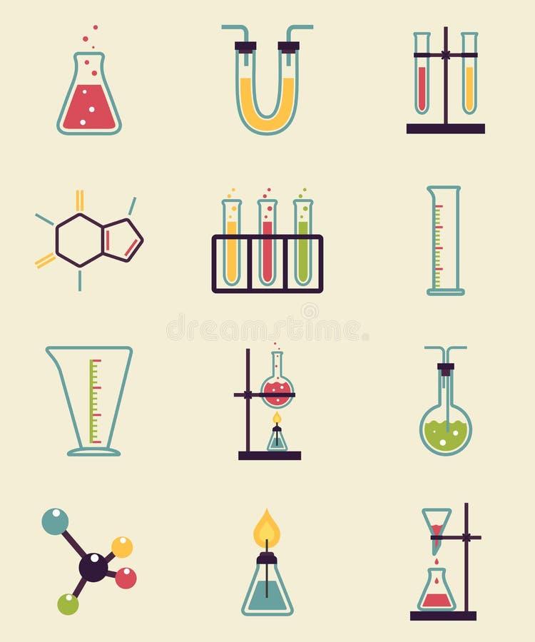 Значки химии иллюстрация вектора
