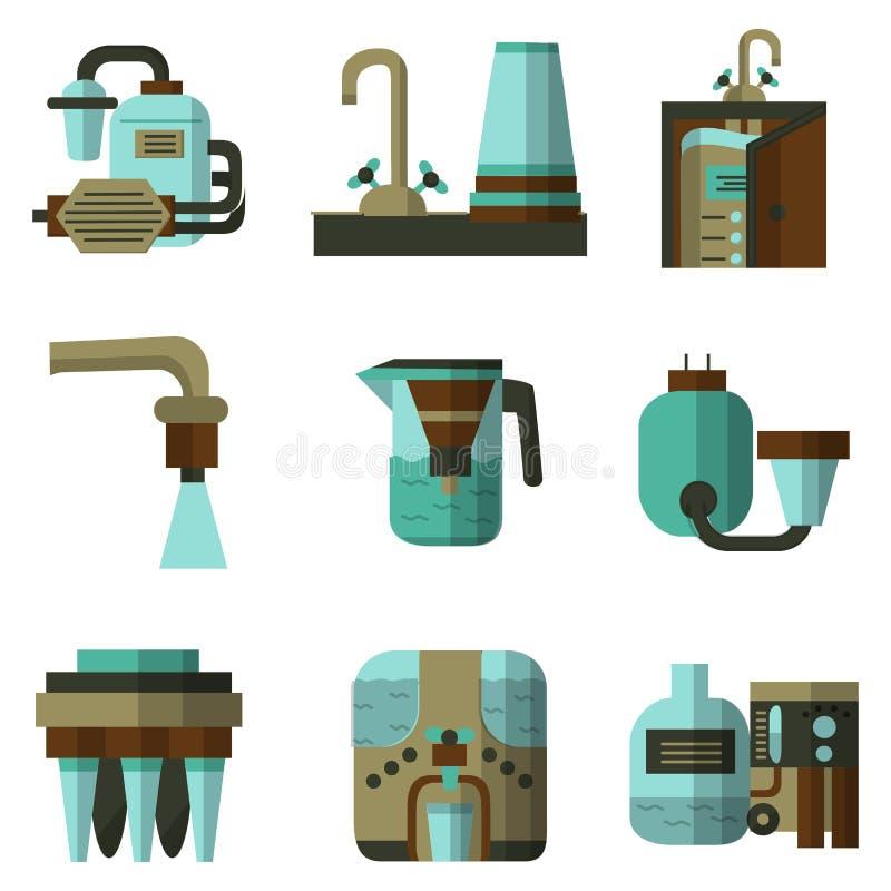 Значки цвета водяных фильтров плоские бесплатная иллюстрация