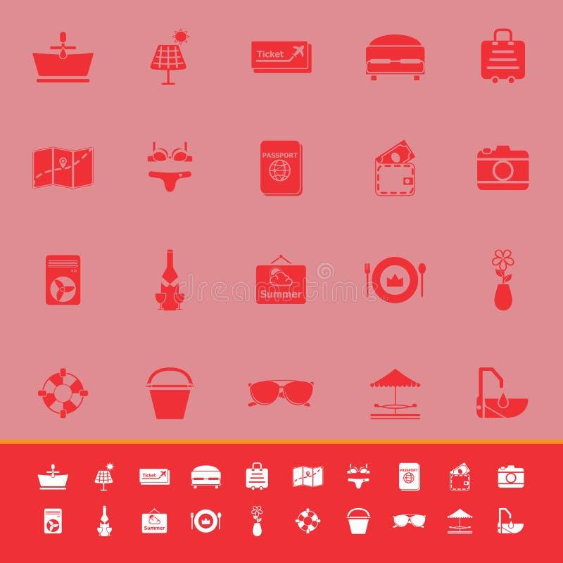 Download Значки цвета лета на красной предпосылке Иллюстрация вектора - иллюстрации насчитывающей карточка, красивейшее: 37926775