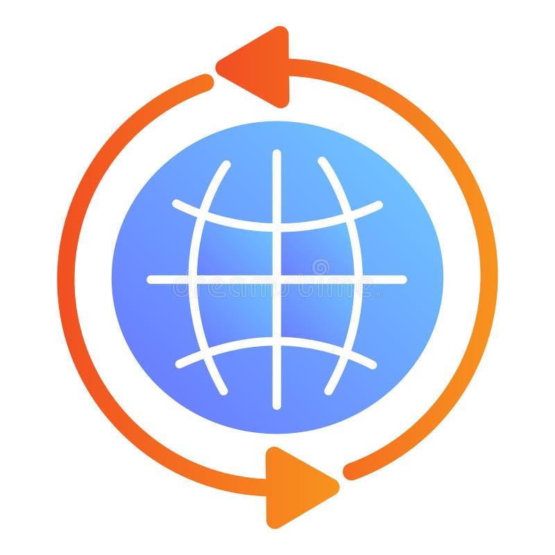 Значок глобуса плоский Значки цвета интернета в ультрамодном плоском стиле Пойдите к дизайну стиля градиента сети, конструированн иллюстрация штока