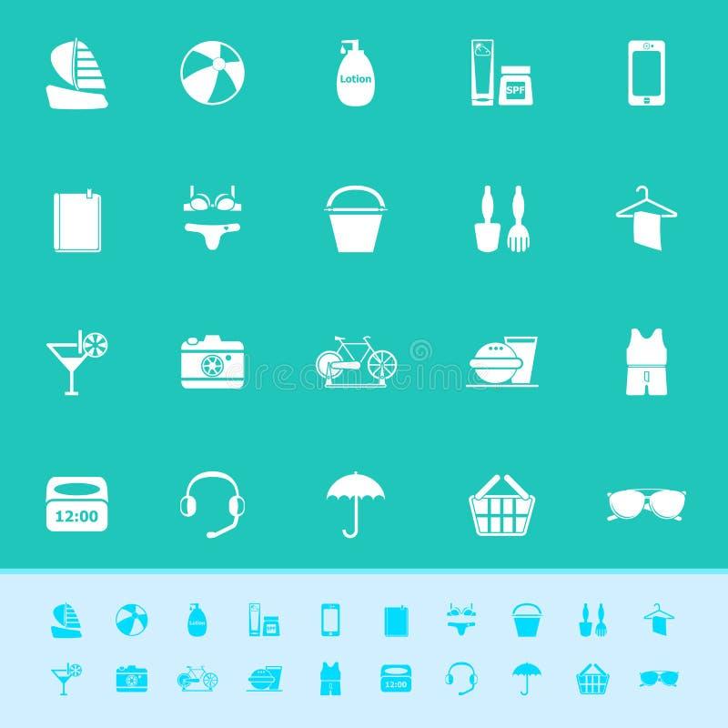 Download Значки цвета пляжа на зеленой предпосылке Стоковое Изображение - изображение насчитывающей элемент, коктеил: 37926841