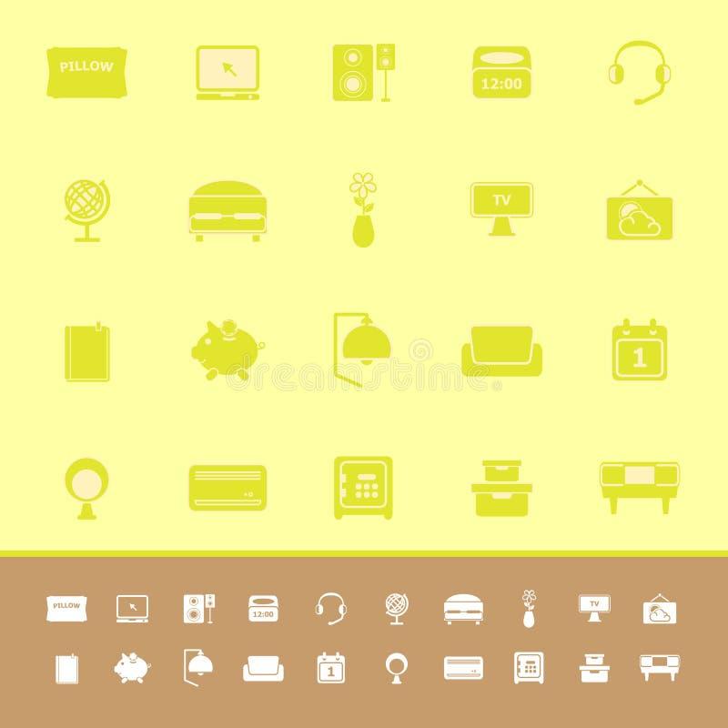 Download Значки цвета спальни на желтой предпосылке Иллюстрация вектора - иллюстрации насчитывающей нот, уединение: 37926679
