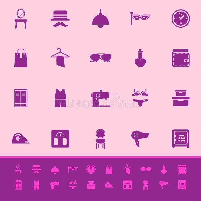 Download Значки цвета уборной на розовой предпосылке Иллюстрация вектора - иллюстрации насчитывающей vintage, собрание: 37926639