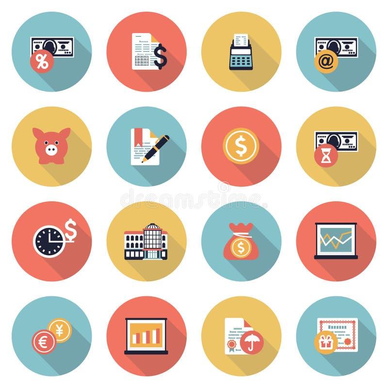 Значки цвета финансов современные плоские иллюстрация штока