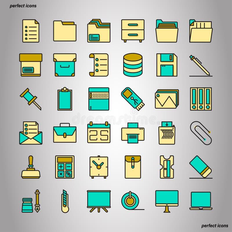 Значки цветного барьера канцелярские товара улучшают пиксел иллюстрация вектора