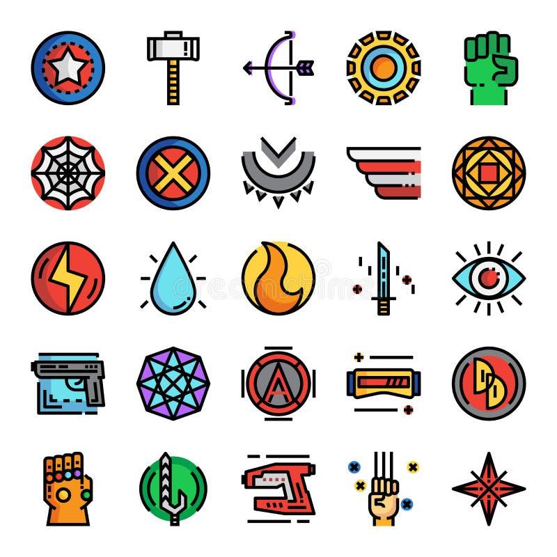 Значки цветного барьера пиксела супергероя идеальные иллюстрация вектора