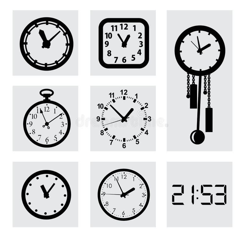 Значки часов вектора черные бесплатная иллюстрация