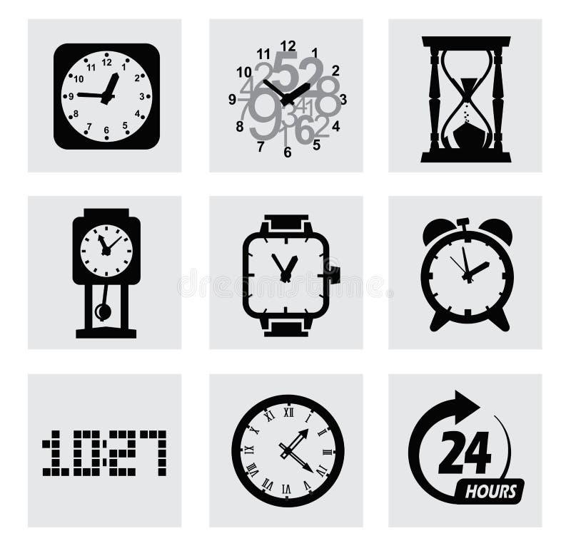 Значки часов вектора черные иллюстрация штока