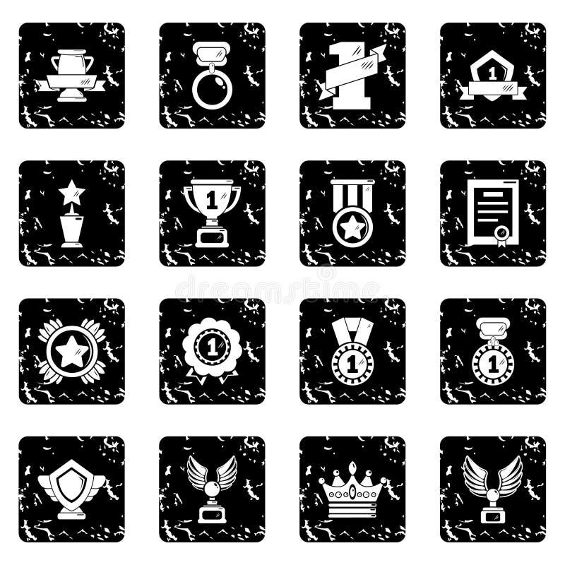 Значки чашек медалей наград установили вектор grunge бесплатная иллюстрация