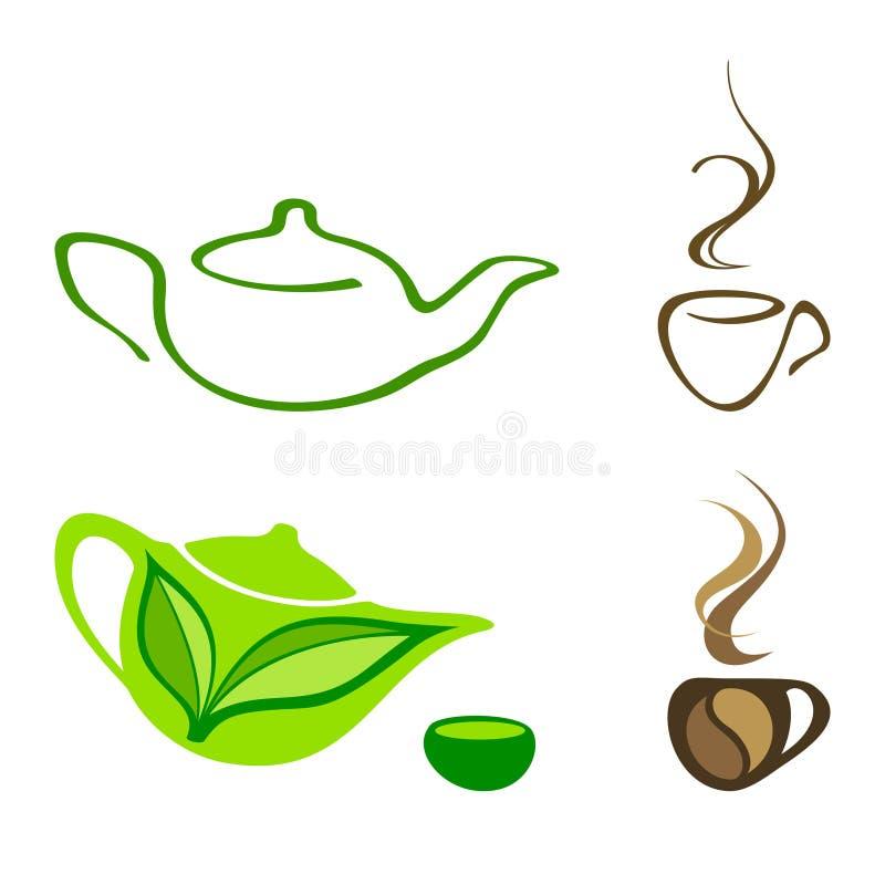 Значки чая и кофе иллюстрация вектора