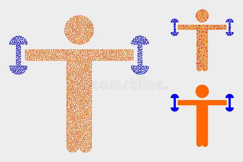 Значки человека фитнеса вектора Pixelated иллюстрация вектора
