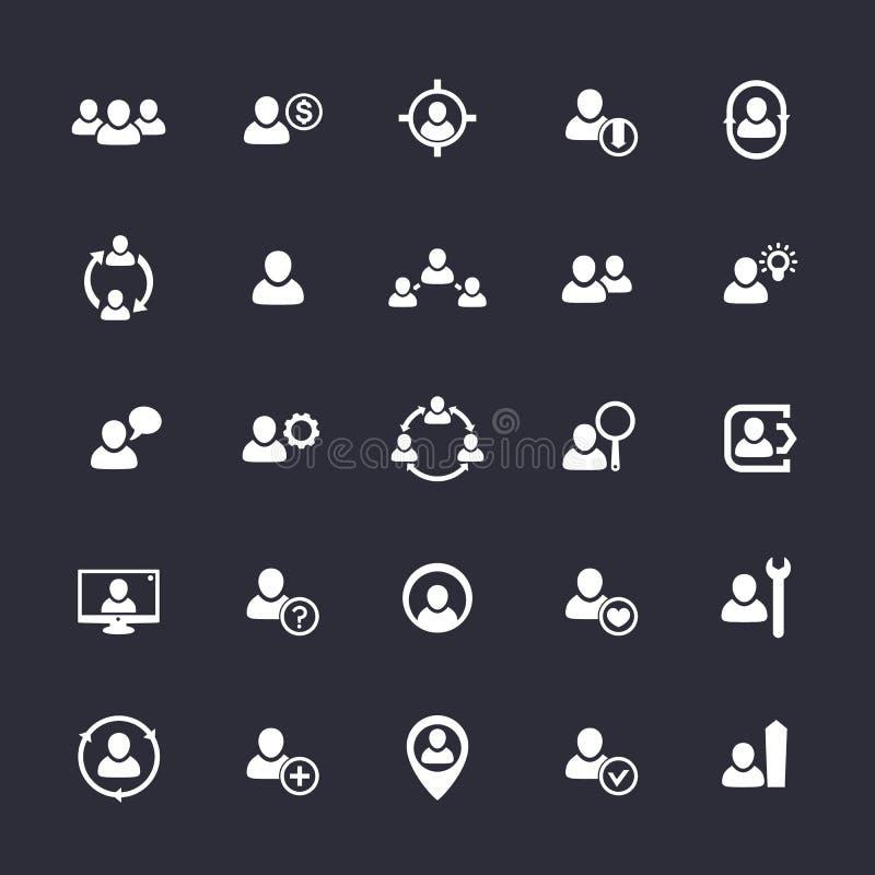 Значки человеческих ресурсов, HR, штат, клиенты иллюстрация вектора