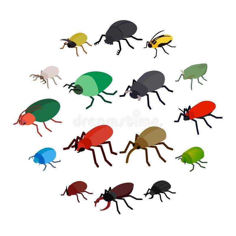 Значки черепашки насекомого установили, равновеликий стиль 3d иллюстрация штока