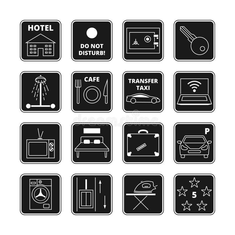 Значки черноты вектора гостиницы бесплатная иллюстрация
