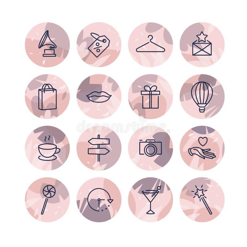 Значки шаблонов установленного дизайна вектора красочные и эмблемы - социальное самое интересное рассказа средств массовой информ иллюстрация вектора